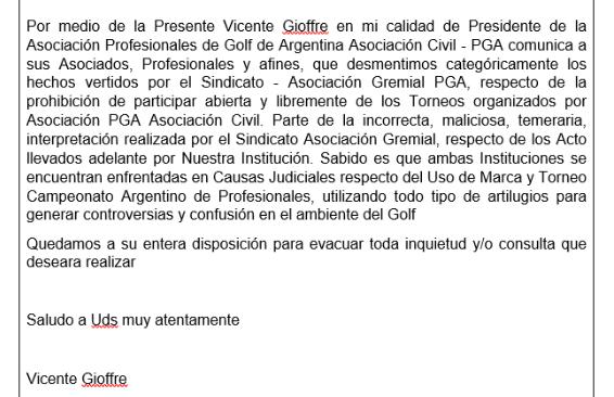 Profesionales de Golf de Argentina Asociación Civil