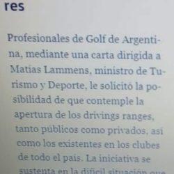 Profesionales de Golf de Argentina presentó a las autoridades nacionales un protocolo preventivo frente a la pandemia